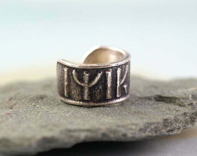 """Featured listing image: Silver Ear Cuff with Dwarven Runes """"Come Back to Me"""""""