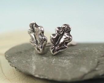 Silver Oak Leaf Earrings - Woodland jewellery - Small Studs