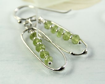 Peridot Bead Earrings with Silver Frame - August Birthstone