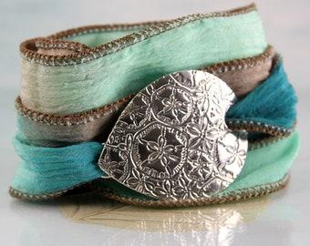 Beach Bracelet with Sand Dollar Pattern Silver on Silk Wrap