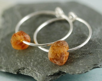 Silver & Amber Hoops  Sterling Silver Sleeper Earrings