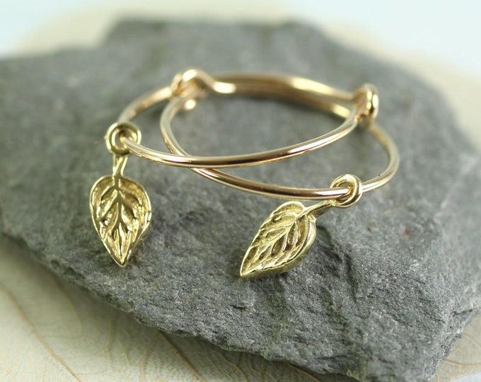 Gold Hoops with Tiny Leaf Dangles  14 ct Gold Fill