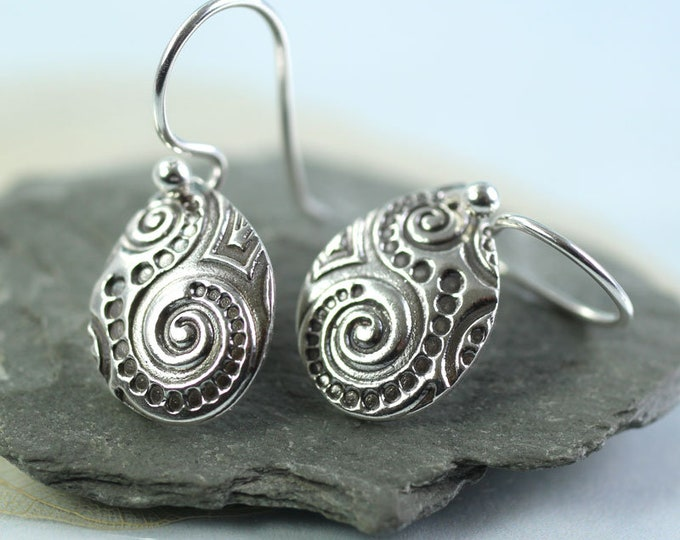 Silver Spiral Earrings - Petal Drop Dangles