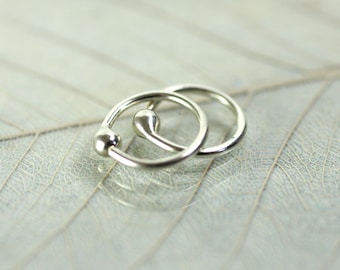 Silver Hoop Earrings 8 mm Sleeper hoops
