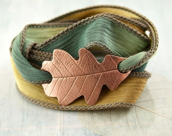 Copper Oak Leaf Bracelet Silk Ribbon Wrist Wrap in Woodland Theme Nature Inspired  Nature jewelry Copper Bracelet Autumn Colour Teacher Gift