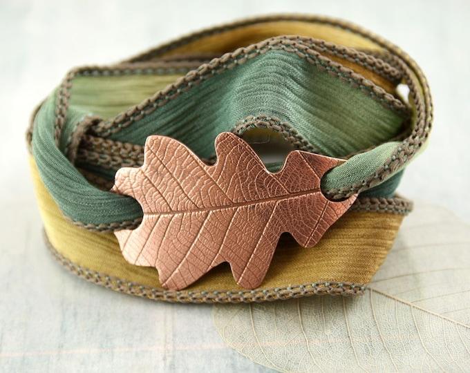 Copper Oak Leaf Bracelet   Silk Wrap Autumn Leaf