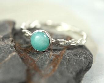Silver Amazonite Ring  Twist Gemstone Ring