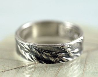 Silver Ring with Grass Impression  Inspired by Nature Wedding Ring