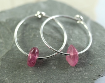 Silver Hoops with Pink Tourmaline Nuggets - Classic Gem Hoops