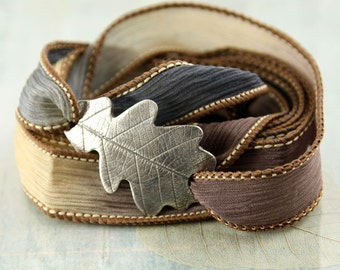 Silver Oak Leaf Bracelet Silk Ribbon Wrapped in Meadow Colours Nature Inspired Falling Leaves Autumn Gift Silk Jewellery Wrist Wrap