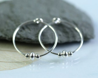 Minimalist Silver Hoops with beads Sterling Silver Sleeper Earrings