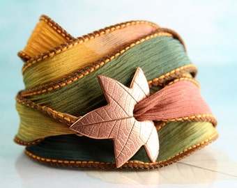 Copper Leaf Bracelet Silk Ribbon Wrap