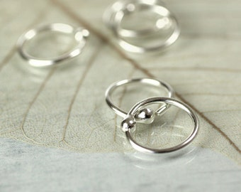 Silver Hoop Earrings 9 mm