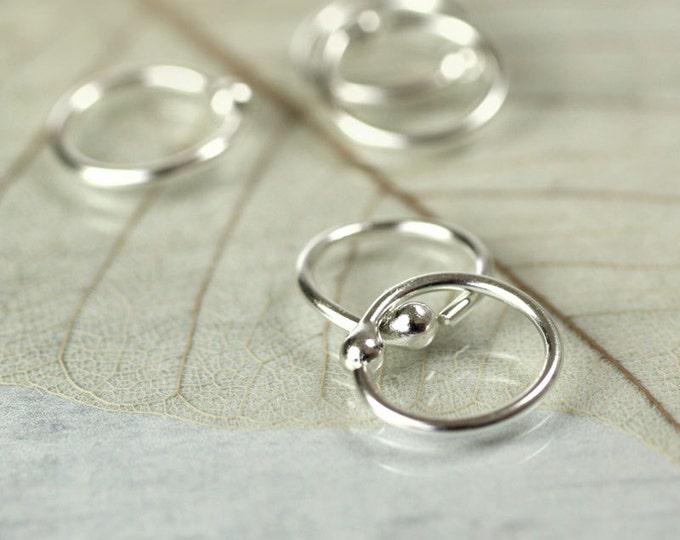 Silver Hoop Earrings 9 mm
