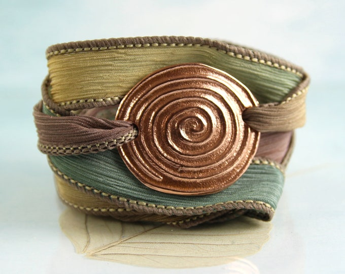 Silk Wrap Bracelet Copper Spiral Bracelet  Cuff Druid Jewellery Autumn