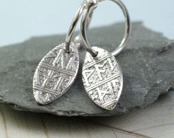 Rune Leaf Drop Earrings in Sterling Silver
