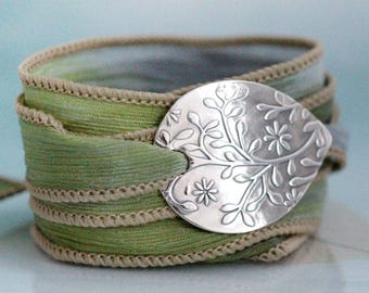 Flower Silk Wrap Bracelet Silver Nature jewelry Handmade Botanical Silver jewellery Clematis  Nature Lover Gift Silk Cuff Teacher Gift