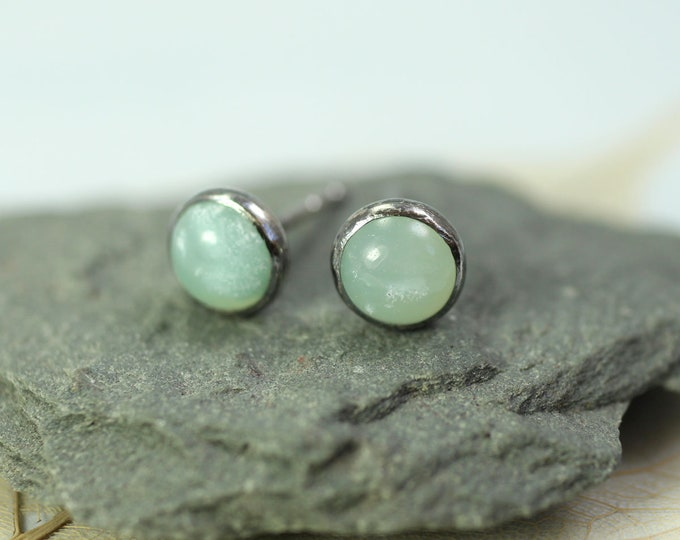 Silver Stud Earrings Aventurine Gemstones Gem Studs on Posts