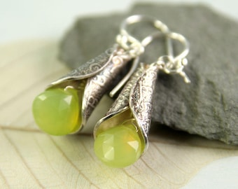 Silver Chalcedony Earrings - Elven Silver Cones Dangle Gemstones Apple Green  Fantasy Jewellery  Bell Earrings