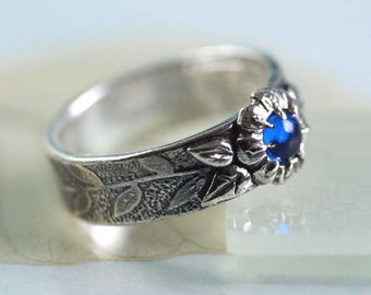 Silver Ring with Blue Spinel Unique in Size N