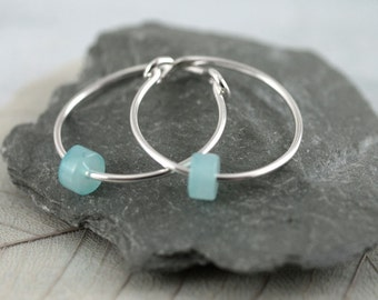 Silver Sleeper Hoops with Cylinder Amazonite Beads