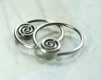 Spiral Silver Hoops Sideways Sleeper Earrings