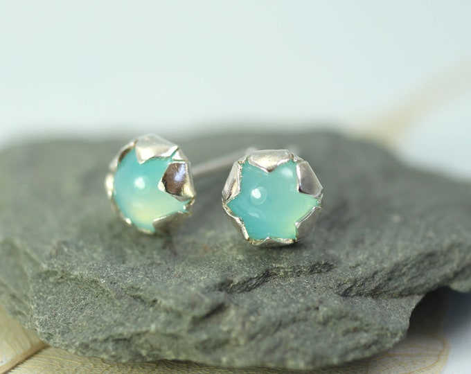 Aqua-Blue GemStone Earrings in Silver Flower Setting - Silver Chalcedony | Star Earrings - Frozen Beauty