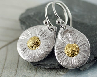 Silver Daisy Earrings with Sunshine  Silver and Gold Earrings  Flower Mixed Metal Bridal Earrings Summer Bride