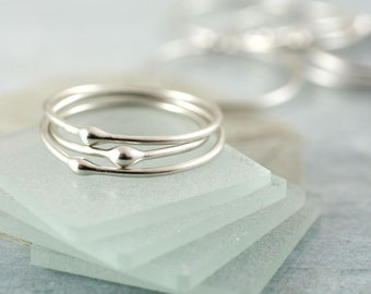 Silver Drop Stacking Rings   Elegant Set of 3