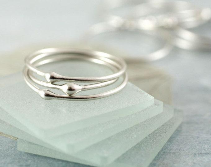 Silver Drop Stacking Rings   Elegant Set of 3