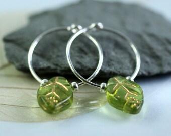 Silver & Leaf Hoops  Sterling Silver Sleeper Earrings with Glass Beads