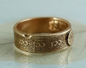 Elvish Bronze Ring - The Road Goes Ever On