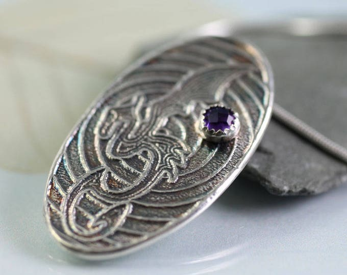 Dragon Necklace Silver Oval Pendant with Amethyst Stone - Dragon Jewelry | Silver Dragon