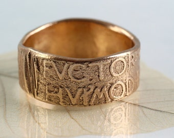 Golden Bronze Ring Old Roman Script