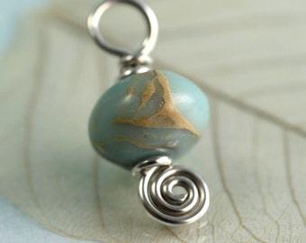 Aqua Terra Jasper Pendant Wire Wrapped Silver