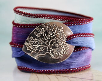 Tree of Life Bracelet Handmade Silver & Silk