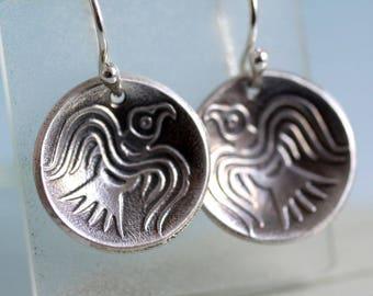 Odin's Ravens - Domed Silver Dangle Earrings