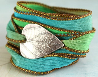 Wrapped Bracelet with Silver Leaf Botanical Jewellery Silk Ribbon Wrap Yoga Jewelry Nature Soft Bracelet New Mother Teacher Gift