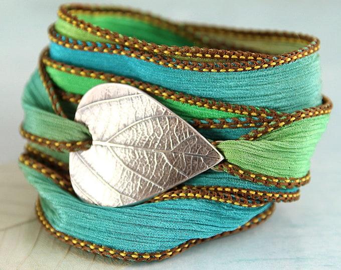 Wrapped Bracelet with Silver Leaf Botanical Jewellery