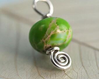 Mother Earth Pendant Ocean Jasper Wire Wrapped in Silver