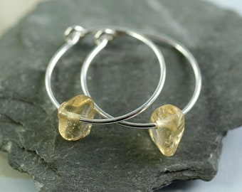 Silver Gem Hoops with Citrine Nugget Beads