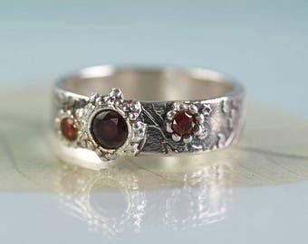 Garnet Silver Ring Unique Size Q