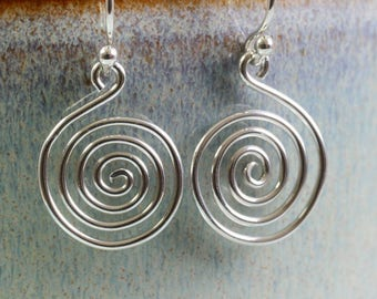 Celtic Spiral Earrings in Sterling Silver  Open Spirals lightweight Dangle Earrings Silver Wire Spiral Earrings
