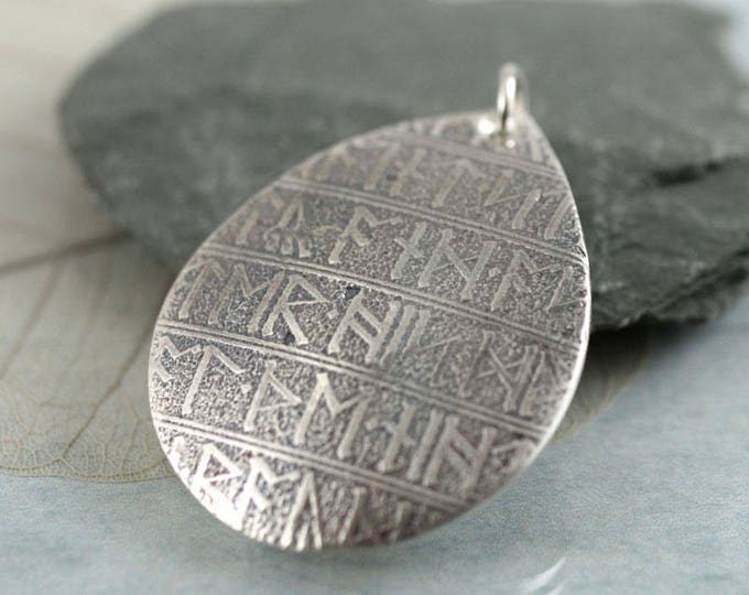 Viking Silver Rune Necklace Drop Pendant with Rune Pattern