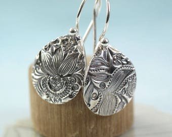 Silver Flower Earrings Flower Pattern Impressed Silver Petal Dangle Drop Earrings  Girlfriend Gift