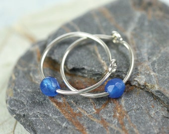 Silver Hoops with Blue Jade Beads