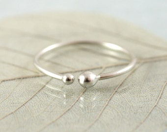 Silver Stacking Ring with Small and Tiny Ball Ends