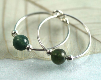 Silver Gem Hoops with Moss Agate Beads