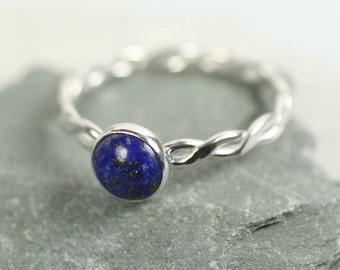 Lapis Lazuli Silver Twist Ring  Sterling Silver Gem Ring