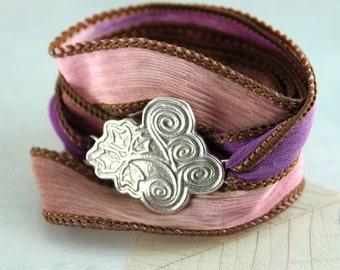 Silver Leaf Cuff Bracelet - Summer jewellery - Hand Dyed Silk Ribbon | Wrap Bracelet | Spiral Ivy Leaves Teacher Gift